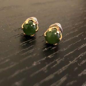 Vintage Jade & Gold Stud Earrings